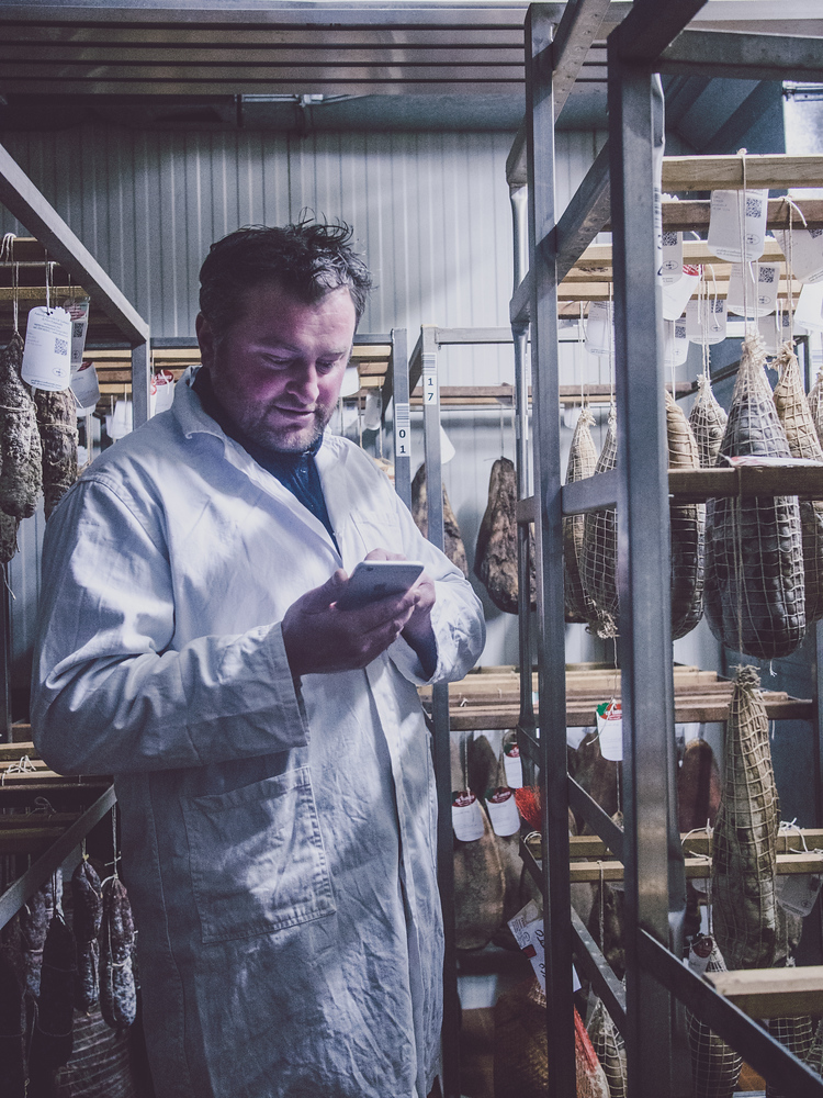 Ca Lumaco just outside Modena Italy uses technology to track that its cured pork and ensure that it is authentic Italian black pig.