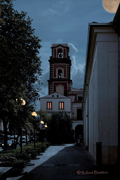 Campanile del Duomo in Sorrento at Night