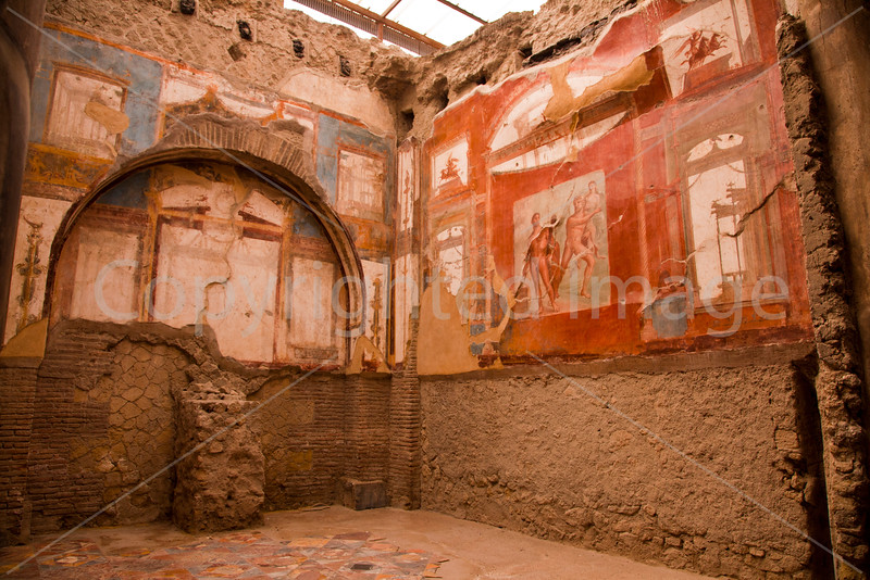 Herculaneum-a town near Naples that was buried in the Vesuvius eruption that destroyed Pompei