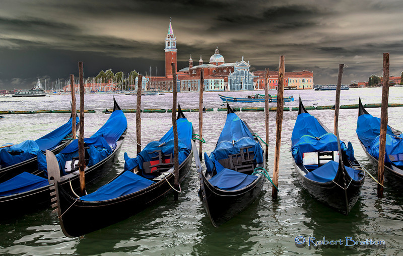 Gondolas in Venice before the Storm