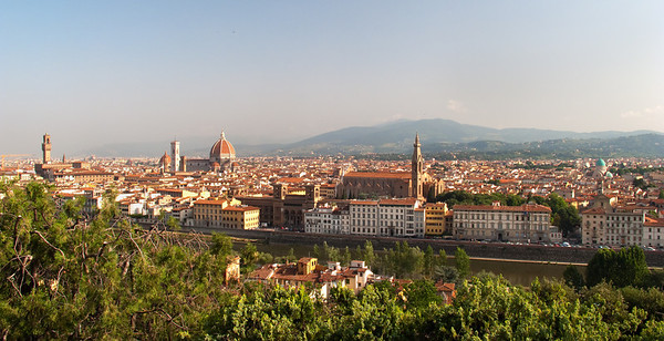 Firenze from Piazzale Michelangelo                        Immediately following our first breakfast in Florence, we took a taxi to Piazzale Michelangelo for this classic morning view of the city.