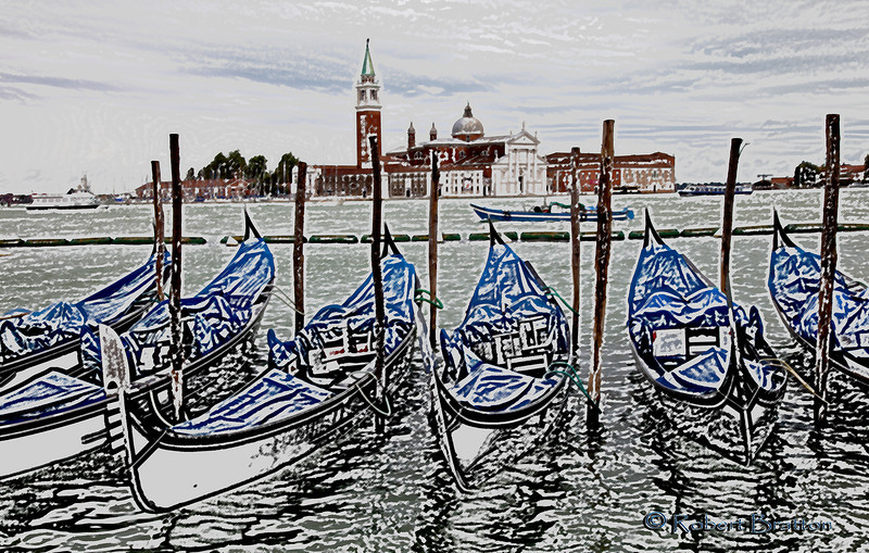 Painting Rendition of Gondolas in Venice
