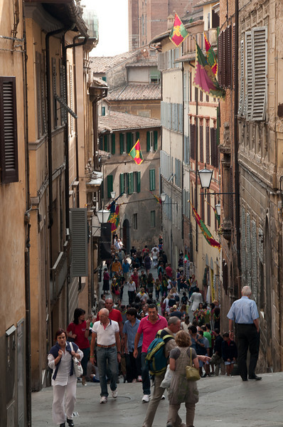 Streets of Siena during Palio di Siena.