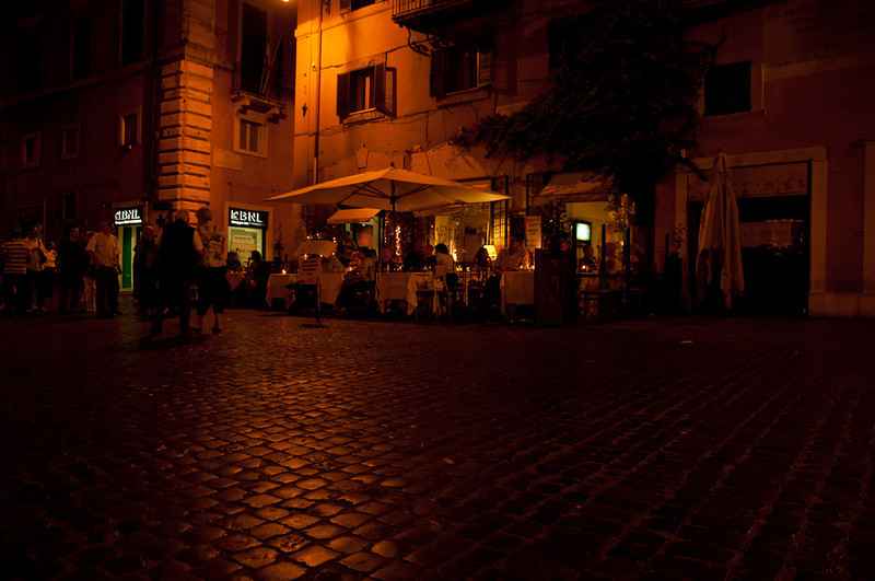 Pantheon area, lively at night.