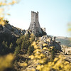 Torre Piccolomini, a XIII century medieval tower. All that remains of a mighty castle built near Pescina, Abruzzo, Italy.