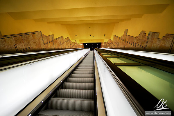 Peer pressure - Second stage of the main escalator of the metro station Toledo in Naples