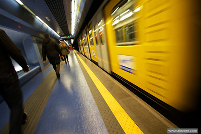 No time to waste - Running train at the Toledo metro station in Naples