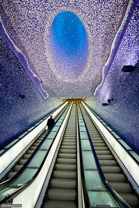 A light above me - Escalators of the Metro Station Toledo in Naples, Italy.