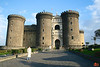 Castel Nuovo in Naples. Note the different building styles merged in the edifice. The oldest parts are from 1279, with the white triumphal arch was added in 1442.<br /> IMG_1083.JPG