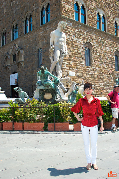 This is Piazza della Signoria, Florence. There are many statues on display. Michelangelo's David originally stood here, but has been replaced with a replica. The original is in a nearby museum.<br /> IMG_2950