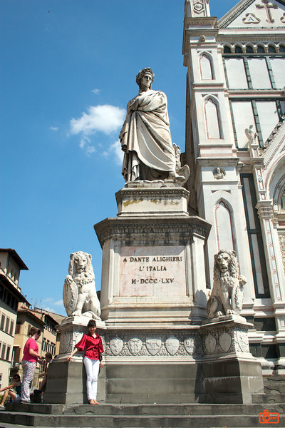 This is a statue of Dante Alighieri outside of Santa Croce (Florence). His tomb is in the church.<br /> IMG_2962