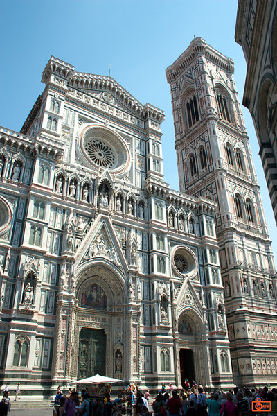 This is the famous Duomo of Florence. It is one of the most well-known Renaissance churches in the world. It is still the tallest building in Florence. The bell tower is on the right.<br /> IMG_2953