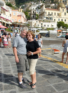 Jerry & Sherry at Positano wating for the boat to Capri