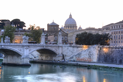 St Peter's Basilica across the Tiber river
