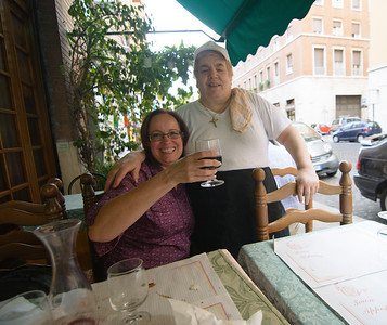Molly with the owner of the restaurant where we had dinner that night.