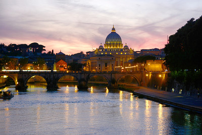 St Peter's Basilica across the Tiber river.  Not a bad shot if I do say so myself.