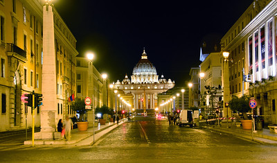 up Via della Conciliazione to St Peter's Basilica.  This is, apparently, a very iconic image as we came through this intersection several times and there there were always locals shooting - one man with a 5x7 view camera and then another wedding photographer that chased us off the prime spot so he could shoot the bride and groom