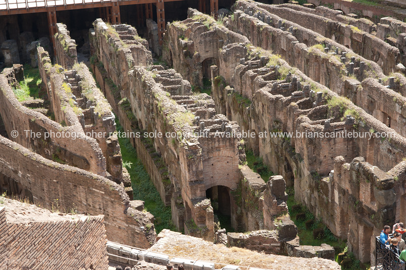 Underfloor corridors of the Colosseum, Rome. Italian images.
