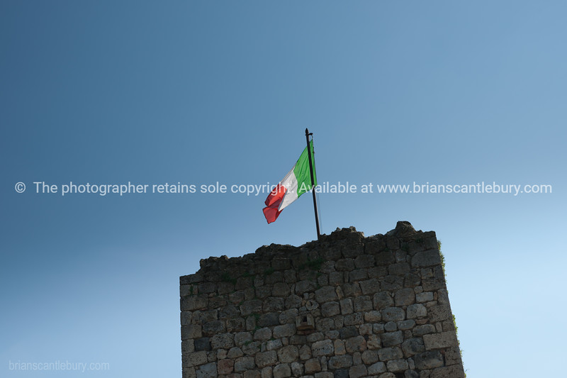 Italian flag over rampart. Italian images.
