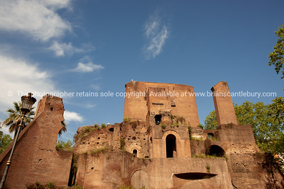 Italian ruins, Colle Oppio, Rome archaeological site. Italian images.