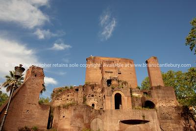 Italian ruins, Colle Oppio, Rome archaeological site. Italian images.