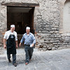 Gubbio, medieval town. preparing food for Festa.