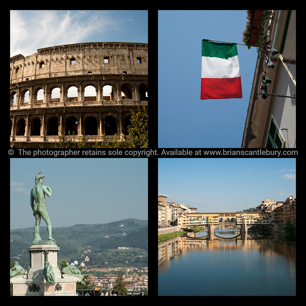 Italian collage, four icons.