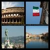 Italian collage, four icons.