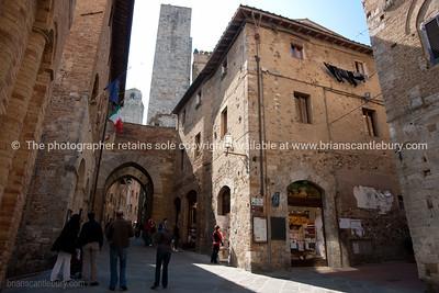 Walled city, San Gimignano. Italian images.