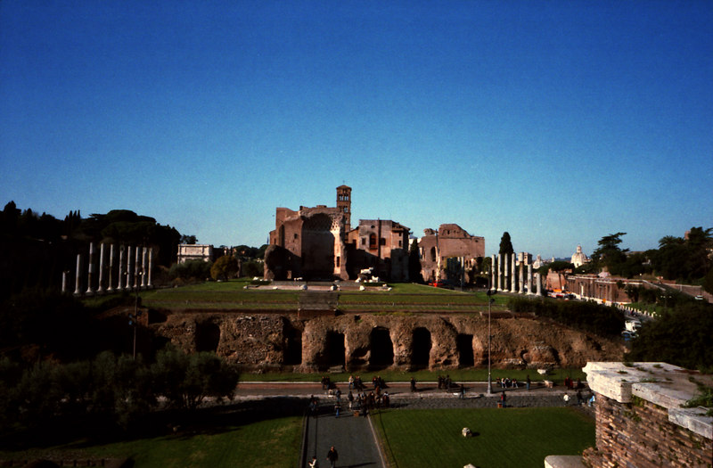 Capitoline hill in the morning, viewed from the third level of the Colosseo.