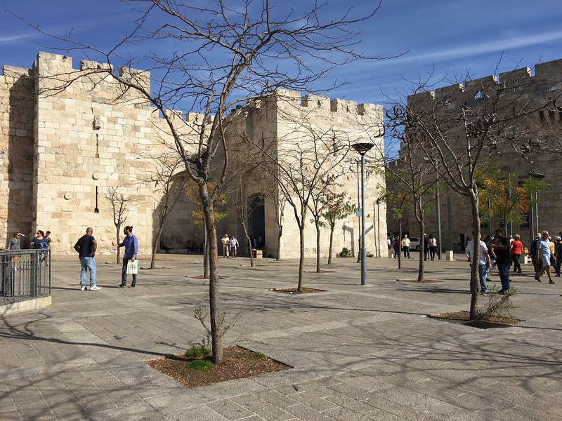 Jaffa Gate. Foot entrance center, vehicle entry at right