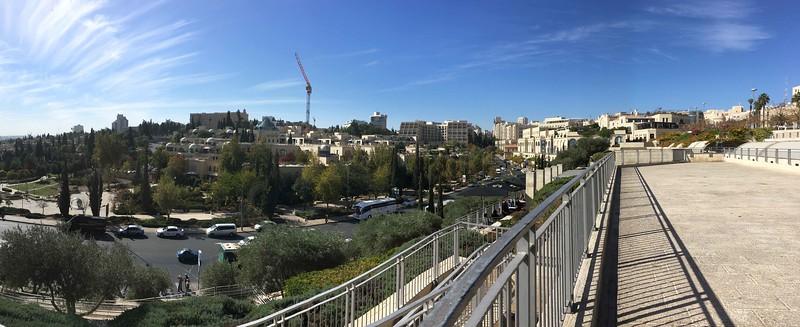 King David Hotel (high point on left horizon). Mamilla Mall at right