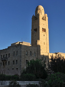 The YMCA Three Arches Hotel, with its 152 ft high central bell tower, is a Jerusalem landmark