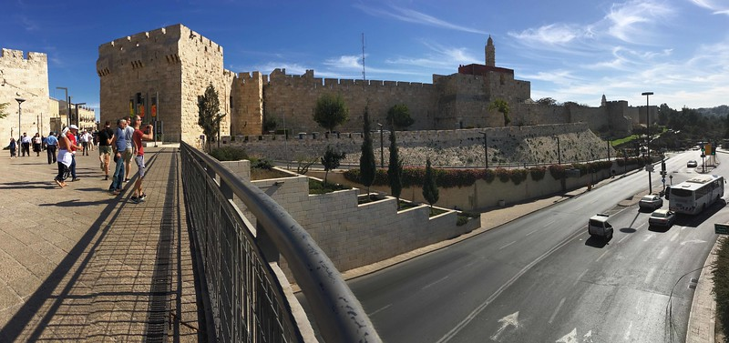 Crossing from Mamilla Mall to the Old City walls