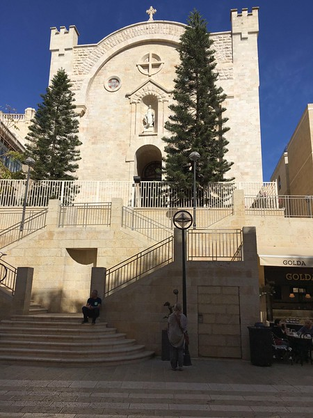 The modern chapel of St Vincent de Paul, seen from the Mamilla Mall