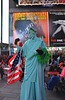 Crazy man in a Statue of Liberty costume!