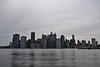 The New York City skyline taken on the Brooklyn side of the Hudson River.