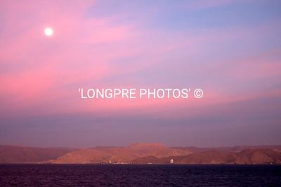 MOON setting over Siani  5 am.  Entering Aqaba, Jordan.