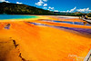From the walkway, Grand Prismatic Spring looked like a giant sunburst.<br /> <br /> By the way, the blues are generally from minerals.  The other colors (orange, purple, yellow, etc.) are usually from microbes (often bacteria or similar), with different microbes thriving at different temperatures (thus, the changes in colors).