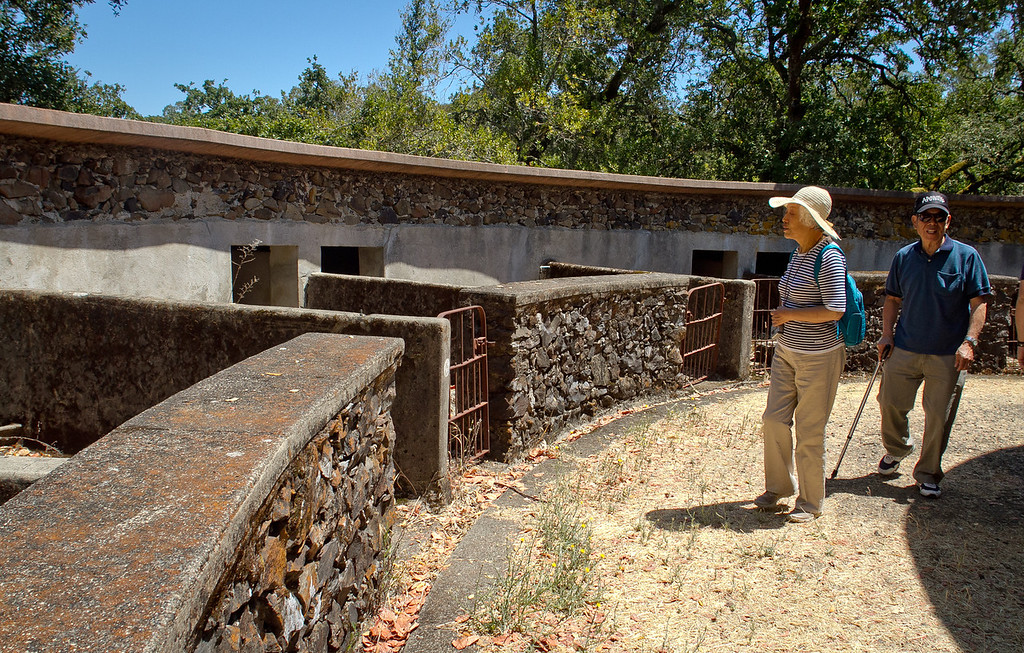 A couple looks at the Pig Palace at Jack London State Park in Glen Ellen, Calif., on Friday, July 13th, 2012.