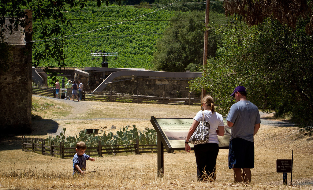 A family read the signs at Jack London State Park in Glen Ellen, Calif., on Friday, July 13th, 2012.