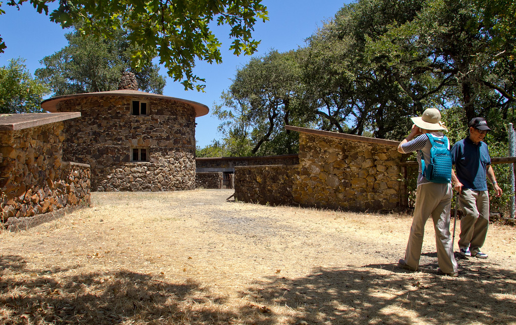 A couple takes a picture at the Pig Palace at Jack London State Park in Glen Ellen, Calif., on Friday, July 13th, 2012.