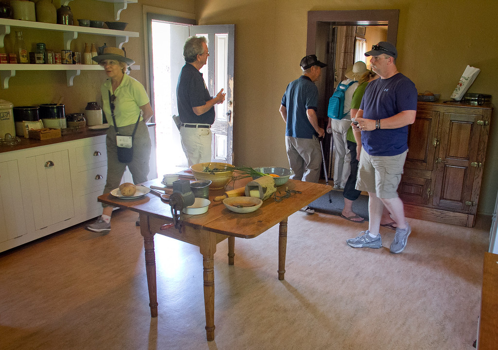 people look at the kitchen at London's Cottage at Jack London State Park in Glen Ellen, Calif., is seen on Friday, July 13th, 2012.
