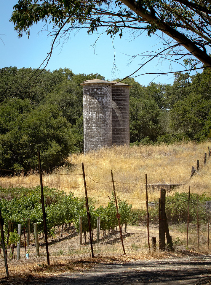 The silos with the vineyard in the foreground at Jack London State Park in Glen Ellen, Calif., is seen on Friday, July 13th, 2012.