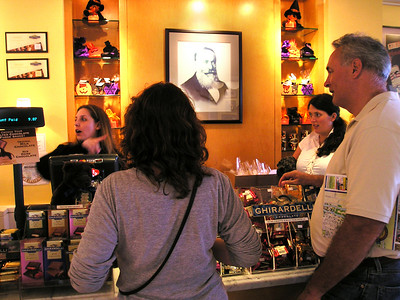 Domingo Ghirardelli  looks on in presumed approval as L & P order their refreshments.