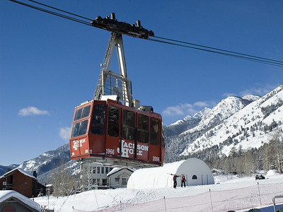 The famous tram! 52 people are going up to the top. It takes about 12 mins to get there and covers 2.4 miles. At the top the elevation is 10,450 which is the longest vertical rise in the U.S. at 4,139. Jackson Hole also boasts the most percentage of expert runs anywhere in the U.S. at 52%