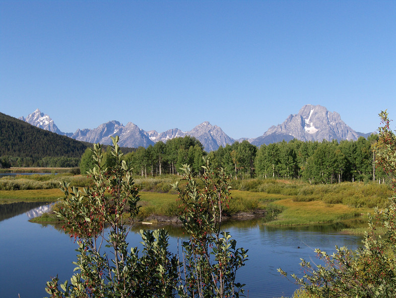 View of the Tetons from Oxbow Bend in Grand Teton National Park