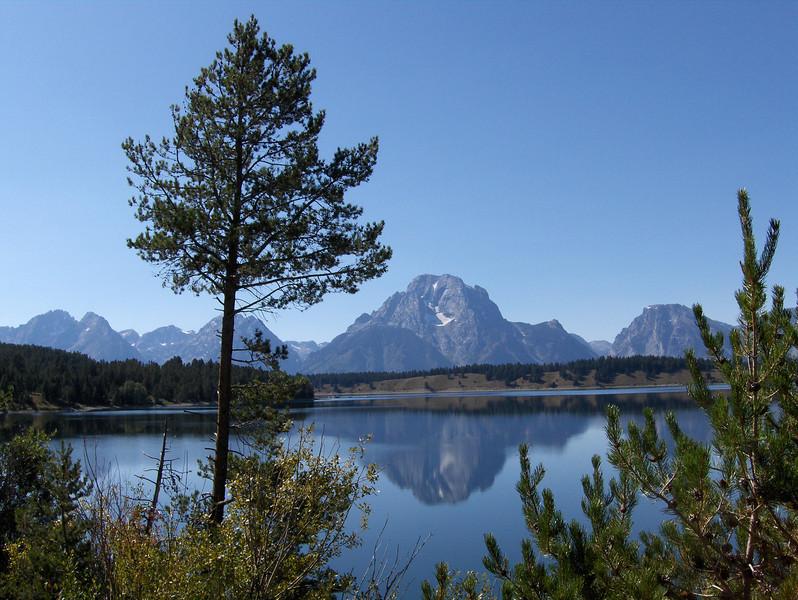 Tetons reflected in Jackson Lake
