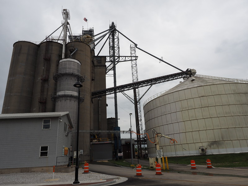 Huge grain elevator across from the catfish place.