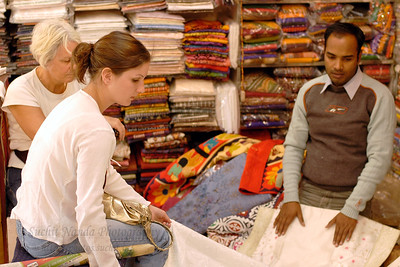 Shops selling cloth, handicrafts, metal and many other things inside City Palace, Jaipur, RJ. These are very popular with the tourists that visit Rajasthan.
